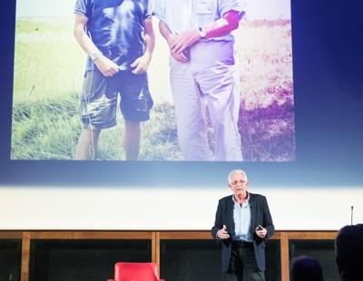 Keith Scholey with Sir David backdrop (Custom)