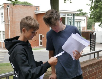 Remi Moussarie and Charlie Linehan discuss their GCSE results at Reed
